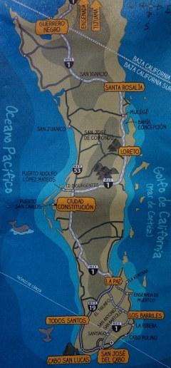 Carte de la Basse californie du sud